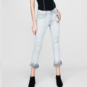 NWT Express Mid Rise Ripped Stretch Cropped Jeans
